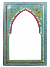 Moroccan Mirror Arched Zouak Wood Pastel Green Handmade Large 90cm x 60cm (ZML14)
